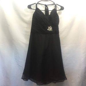 Mari Lee Size 10 Black Halter Strap Midi Dress